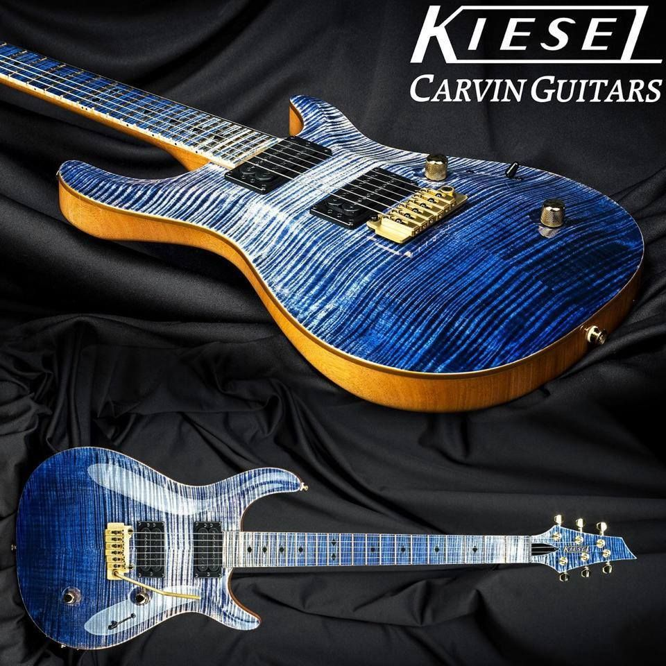 Kiesel Carvin custom blue burst with finished, flamed fretboard to match body