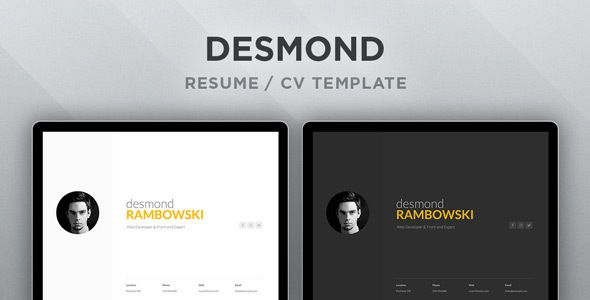 Desmond Resume  Cv Html Template  WebsiteTemplates