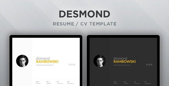 Desmond Resume / CV HTML Template  Desmond has features such as