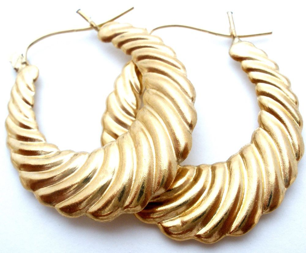 9021d3178759c 10K Yellow Gold Shrimp Hoop Earrings Vintage Oval Hoops Jewelry ...