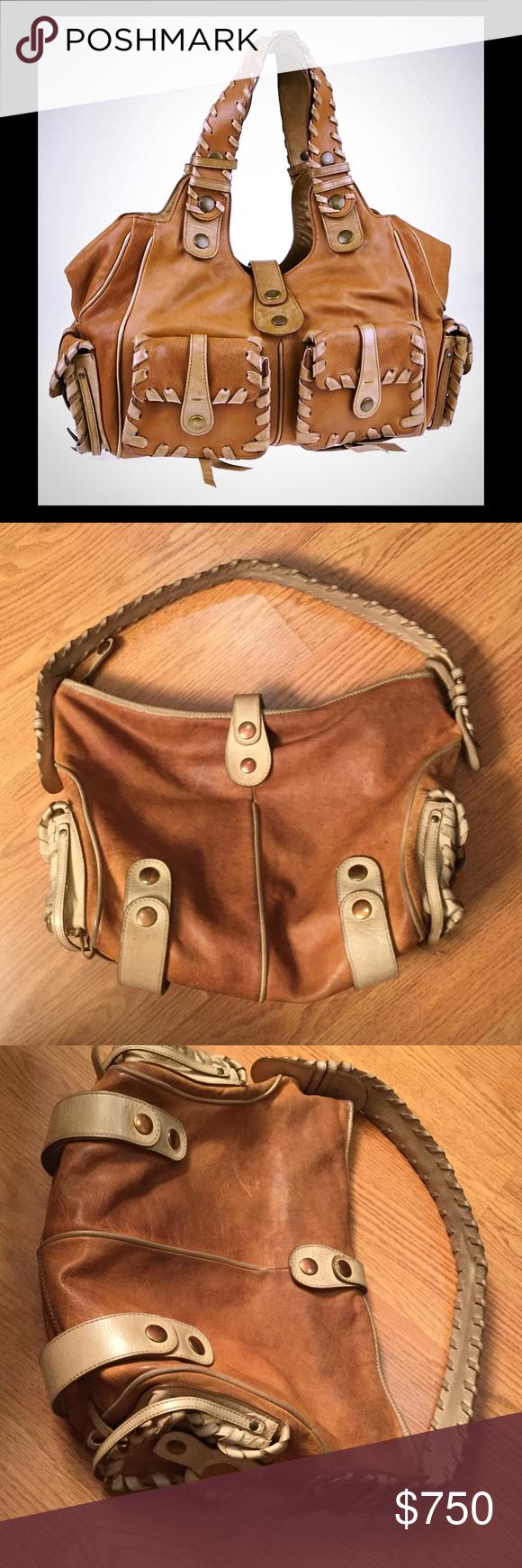 CHLOE tan leather Silverado bag Tan and ivory Chloe Silverado large leather bag classic and a celeb fav Chloe Bags