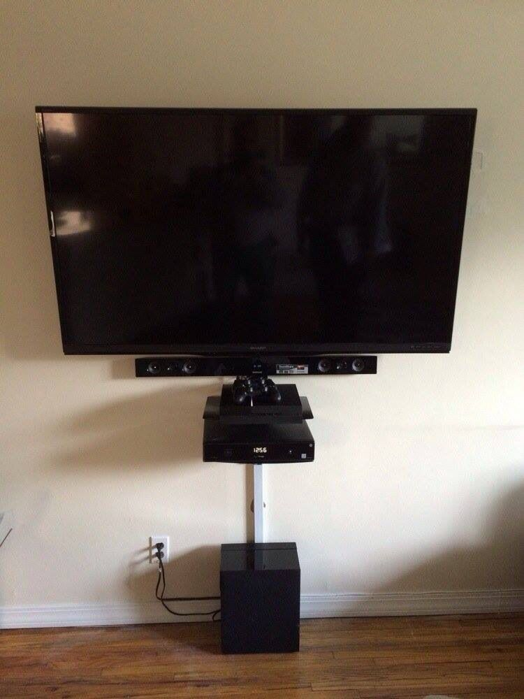 70 Quot Sharp Tv On A Full Motion Mount Wall Mounted Sound