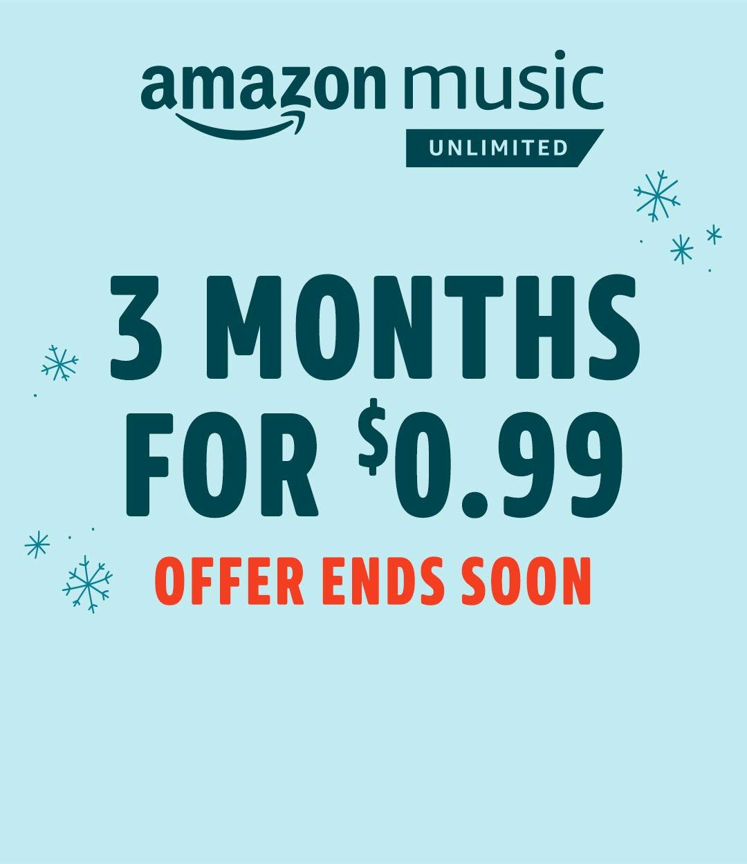 331662a70c7ea3 Amazon Music Unlimited. 3 months for $0.99. Limited time offer. Unlock  access to 50 million songs. Just $7.99 a month for Prime Members.