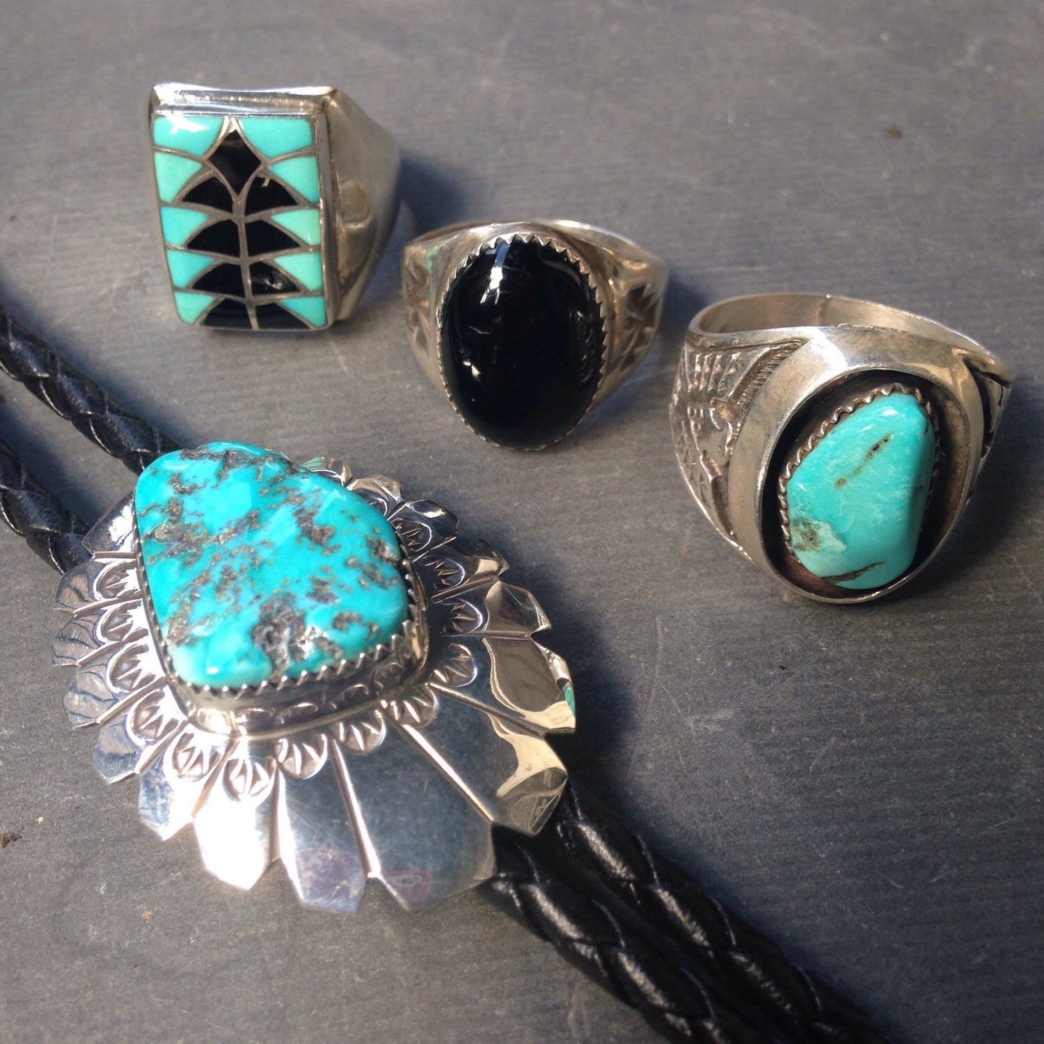 Vintage mens southwest turquoise and onyx Native American