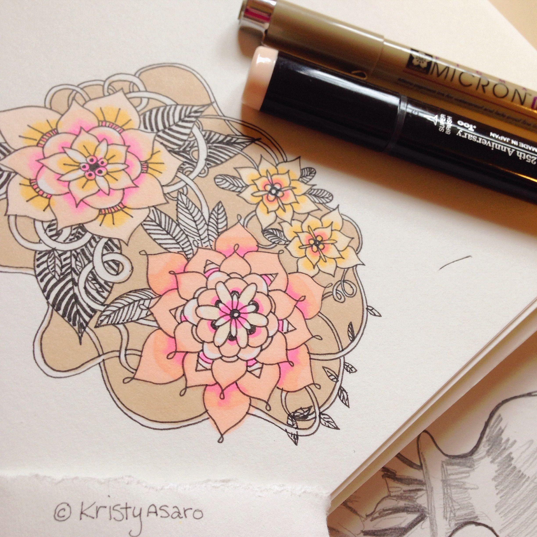 Mandala flower doodles by kristy asaro because ium a girl