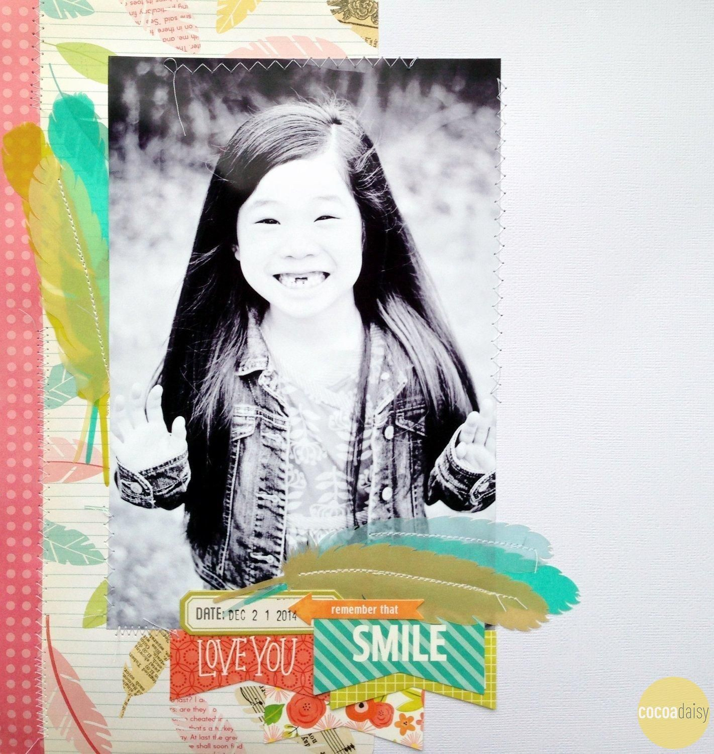 Remember That Smile, by MarthaBonneau January Pajama Time Kit www.cocoadaisy.com #cocoadaisy #cocoadaisykits #scrapbooking