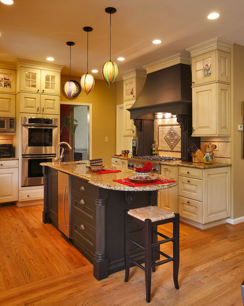 Black Painted Kitchen Cabinets: A Great Shot Of The Black Painted Island And Hood Against