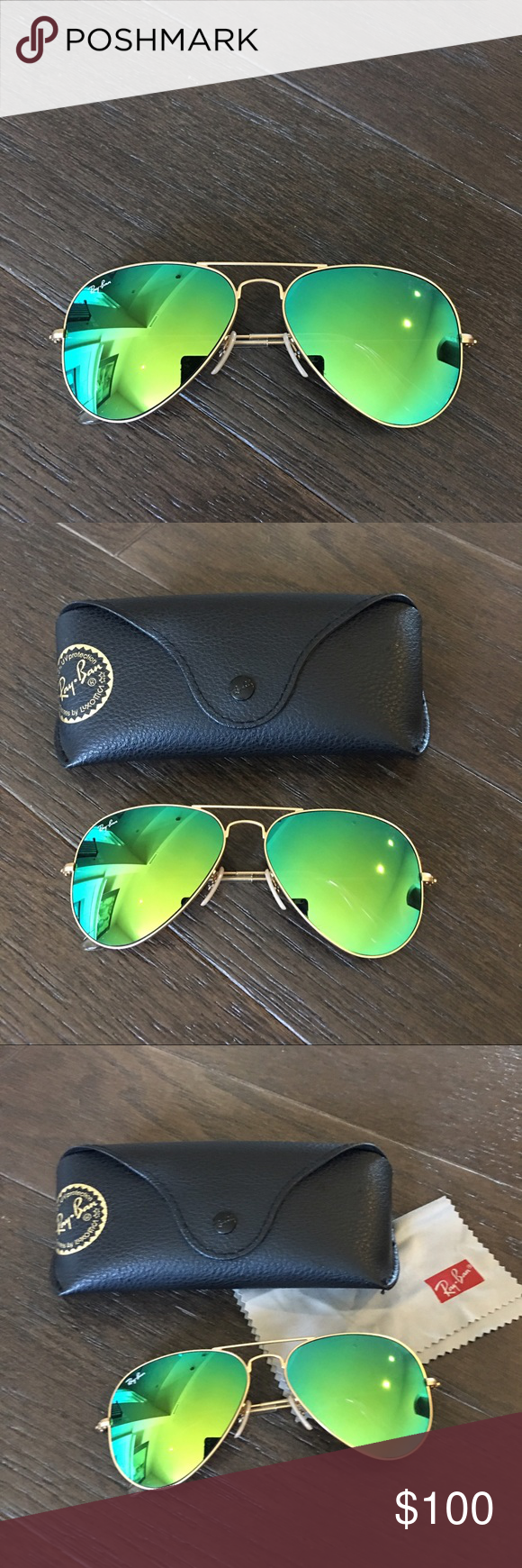Auth Ray ban green mirrored flash lens sunglasses Worn once only, perfect condition, matte gold with green mirrored flash lens. 58mm Ray-Ban Accessories Sunglasses