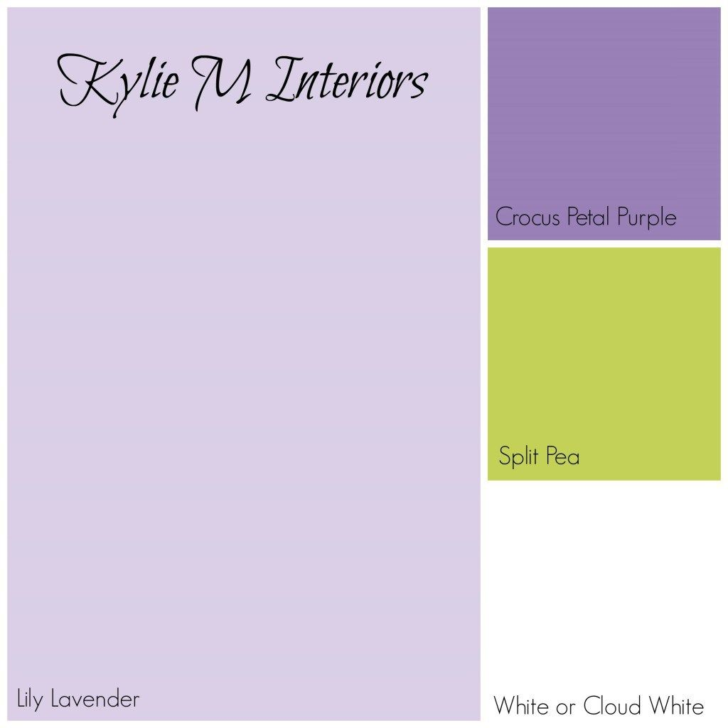 paint colour palette for girls room using benjamin moore lily lavender purple crocus petal purple