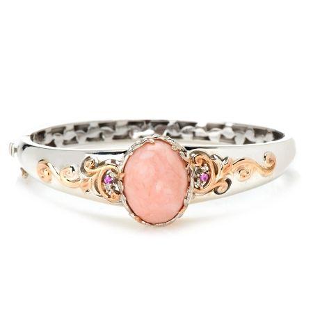 Gems En Vogue Pink Opal Hinged Bangle PS w 18kt YGP