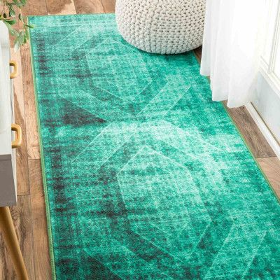 "Bungalow Rose Gaines Turquoise Area Rug Rug Size: Runner 2'7"" x 8'"