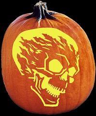 spookmaster flame on skull alien pumpkin carving pattern jack rh pinterest com