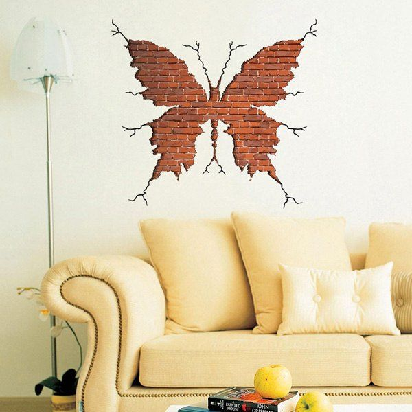 Personality 3D Crack Wall Butterfly Shape Wall Art Sticker ...
