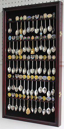 60 Spoon Rack Display Case Holder Cabinet, Real Glass Door, DARK ...
