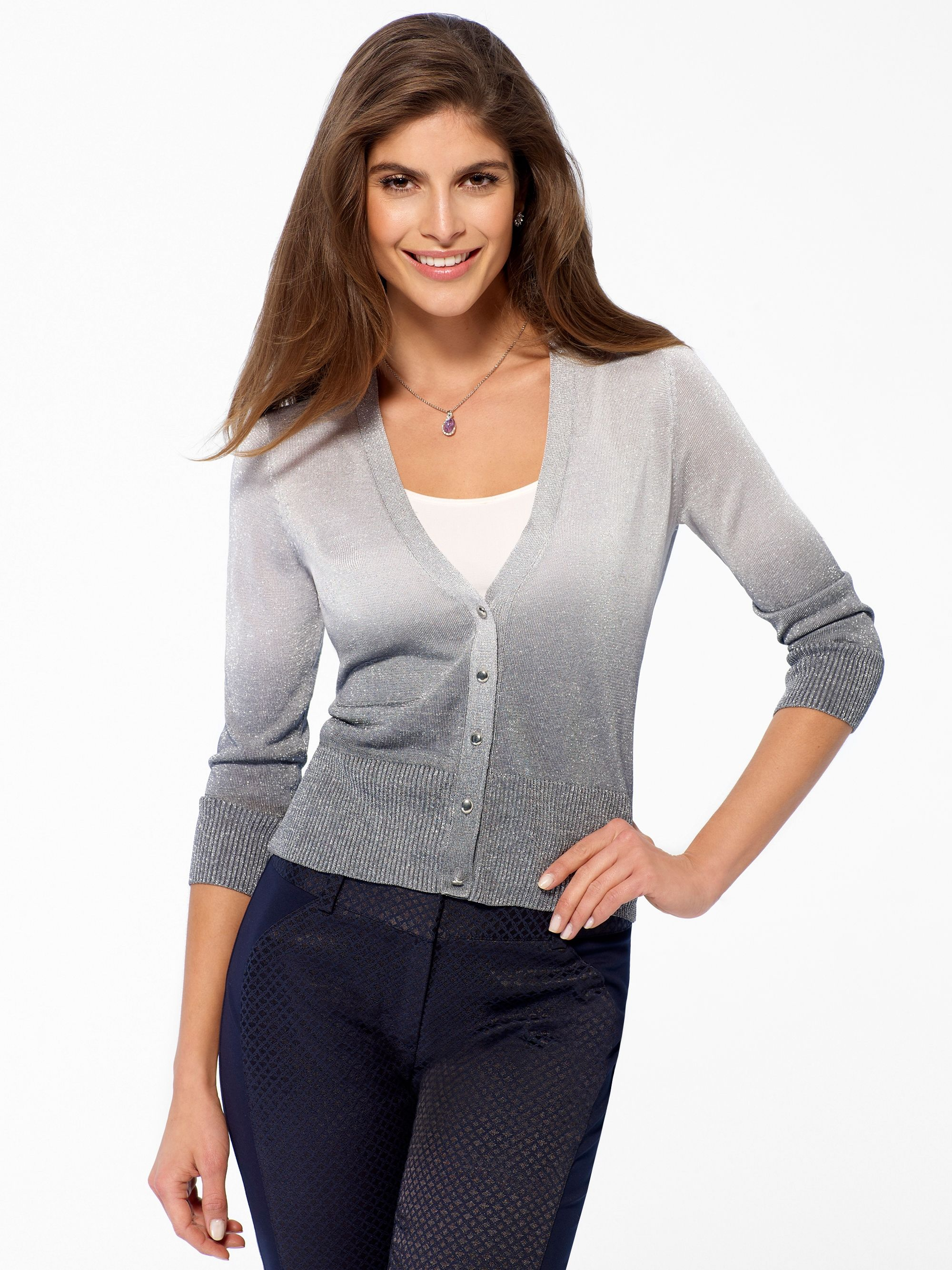 Sheer V-neck cardigan features light-to-dark ombre fade. Button ...