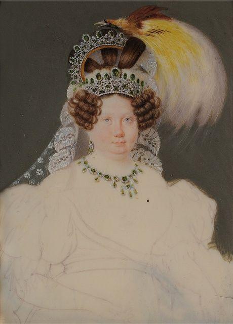 Infanta Luisa Carlota De Borbon Wearing A Massive Amount Of Emeralds Portrait By Florentino De Craene Courtesy Of Gogms 1830s Fashion Tiara Tiara Hairstyles