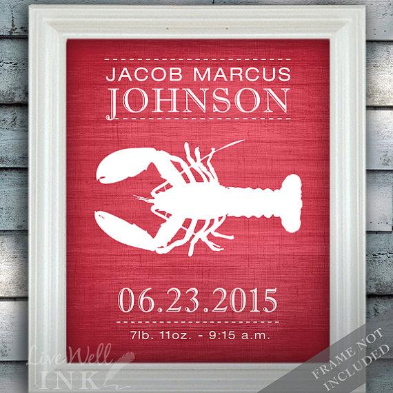 Lobster  Wall Decor  Nautical Nursery Art  Birth by livewellink