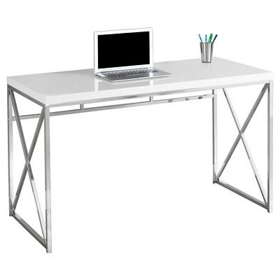 Chrome Metal Computer Desk Glossy White Everyroom Target Home Office Computer Desk Modern Home Office Office Computer Desk