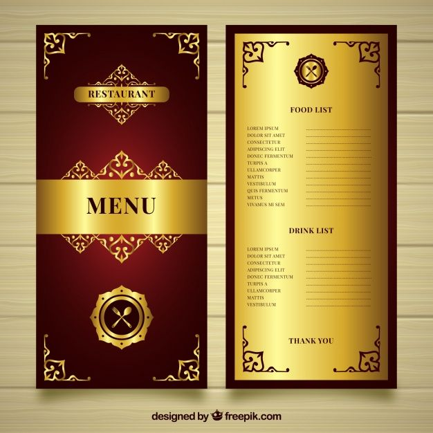 Golden Menu Template With Gothic Style Free Vector  HN Catalogue