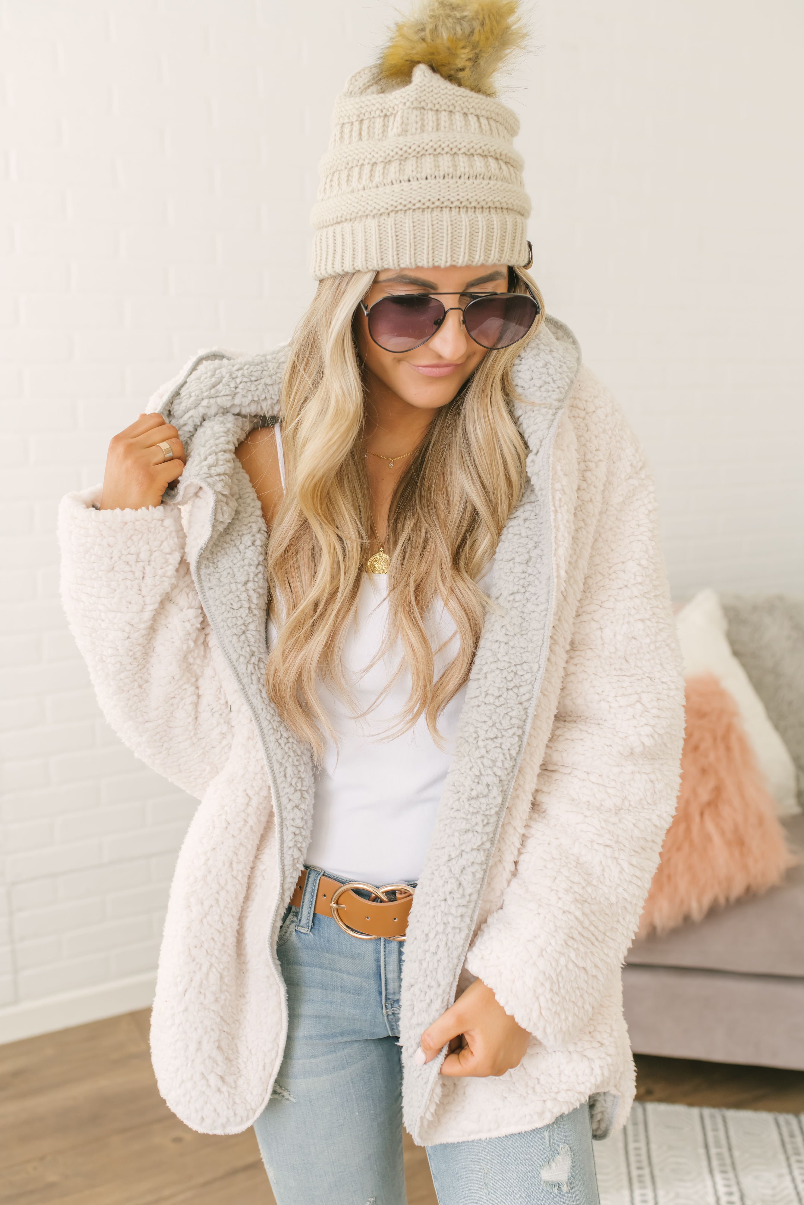 9b0d54167 Shop our Give Me Cozy Reversible Hooded Teddy Jacket in Cream/Grey ...