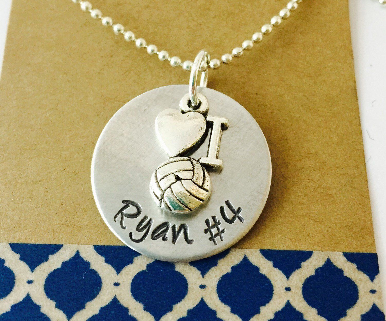 Volleyball Necklace Hand Stamped Volleyball Necklace Volleyball Mom Necklace Girls Volleyb Mother Necklace Personalized Fine Silver Jewelry Friend Necklaces