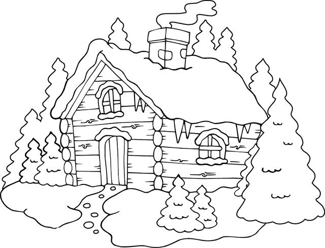 Un chalet de montagne | Coloring books, Christmas coloring pages