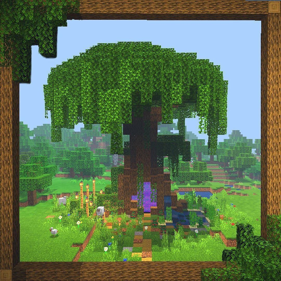 A Magical Giant Oak Tree With Portal And A Pond Follow Minecraft