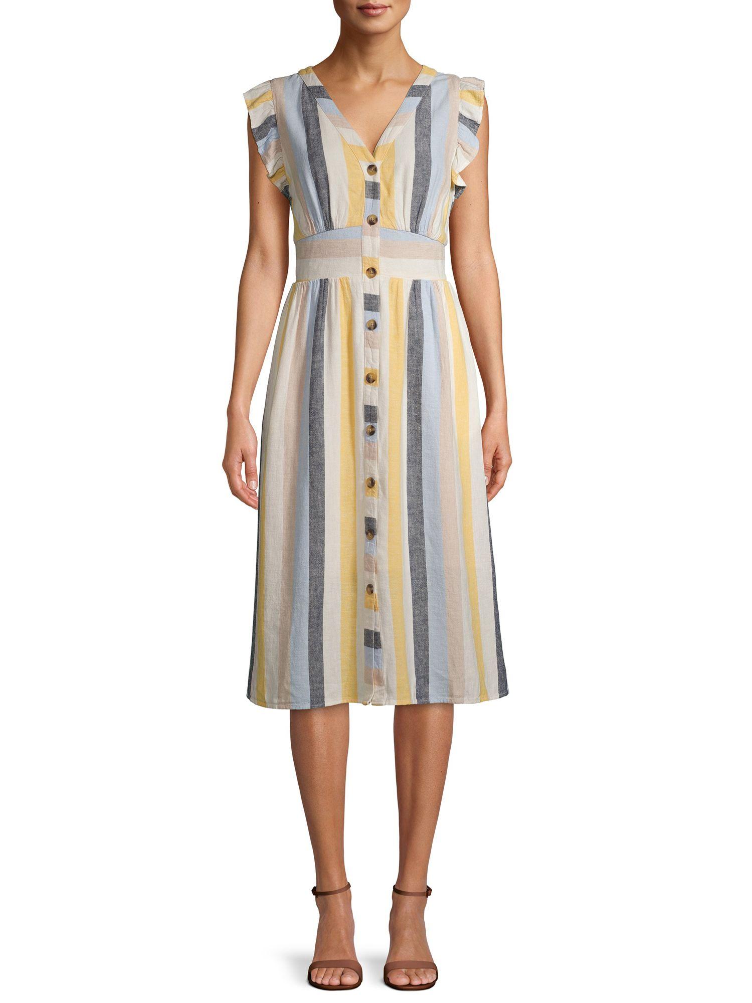 Time And Tru Time And Tru Women S Flutter Sleeve Button Dress Walmart Com Flutter Sleeve Dress Clothes Yellow Striped Dress [ 2000 x 1500 Pixel ]