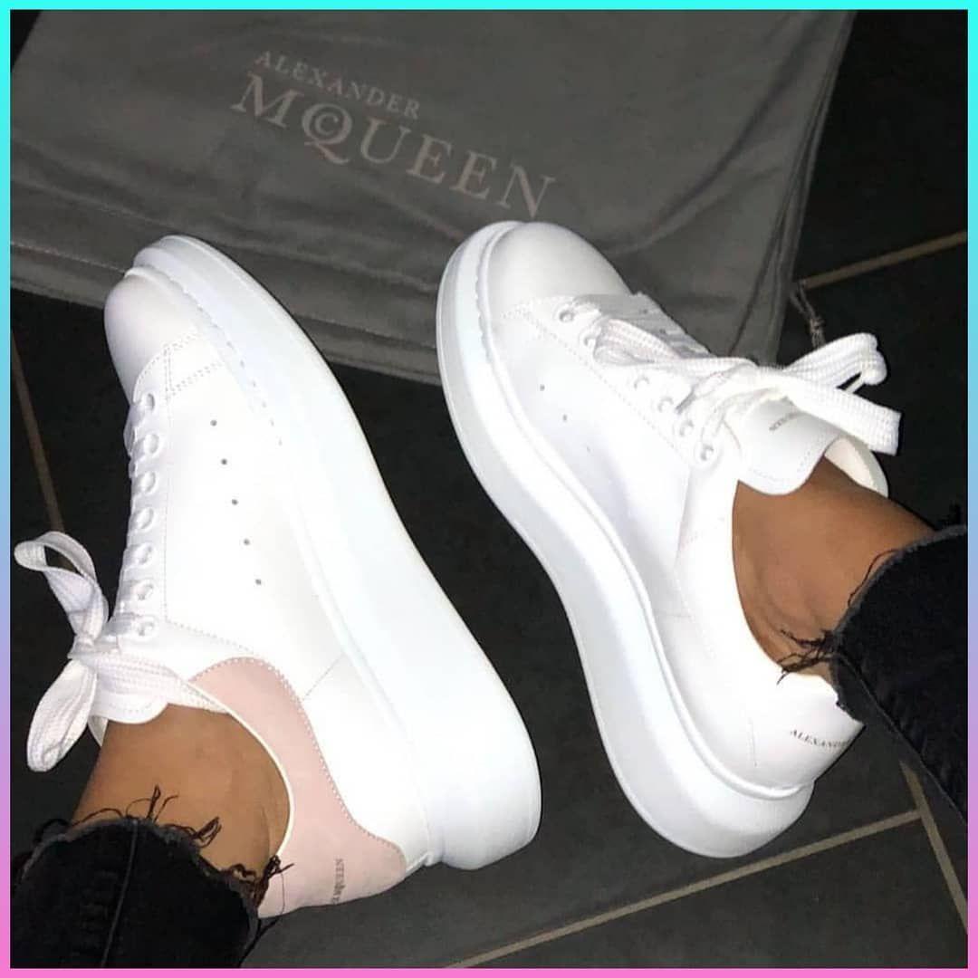 Alexander Mcqueen white & pink women's sneakers | Womens