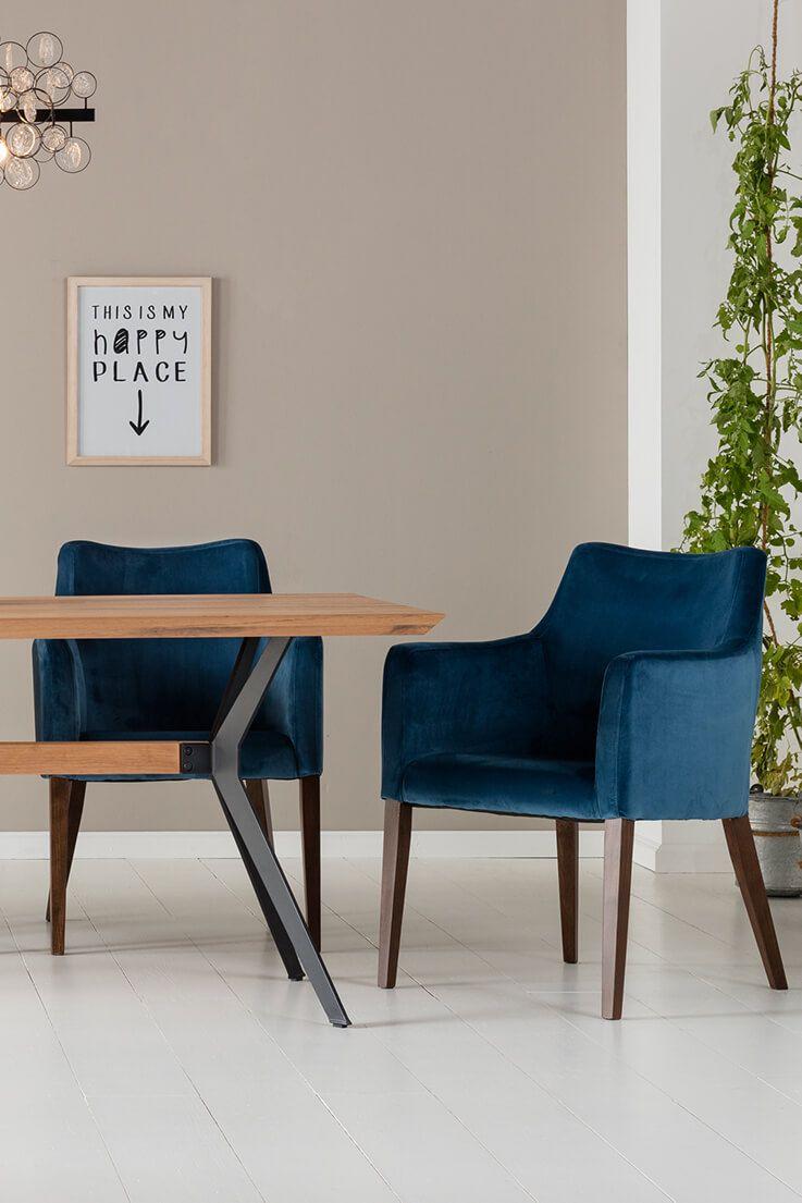 Chaise Avec Accoudoirs Contemporaine Bleue Mode Velours En 2020 Chaise Accoudoir Kare Design Decoration Maison
