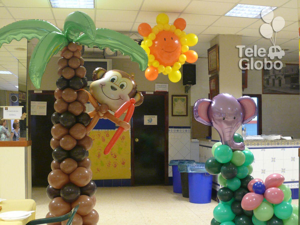 Decoraci n con globos para cumplea os con tem tica selva - Decoraciones fiestas de cumpleanos ...
