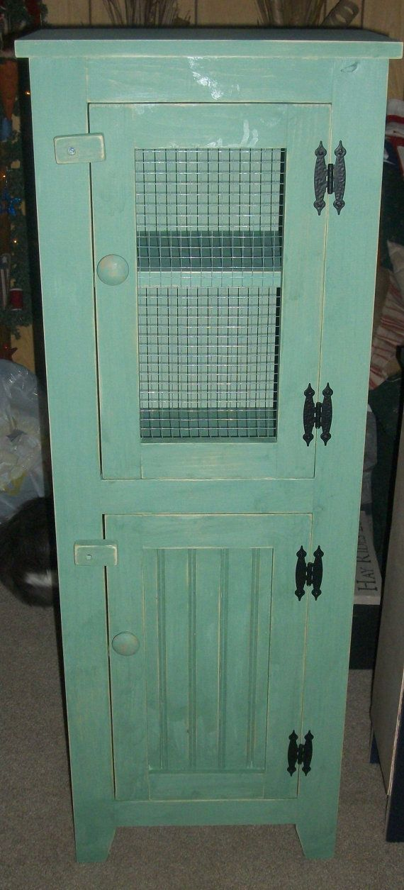 Handmade Wooden Primitive Rustic Cabinet Double Door Pantry Jelly Cabinet  Storage With Wire Door On Etsy
