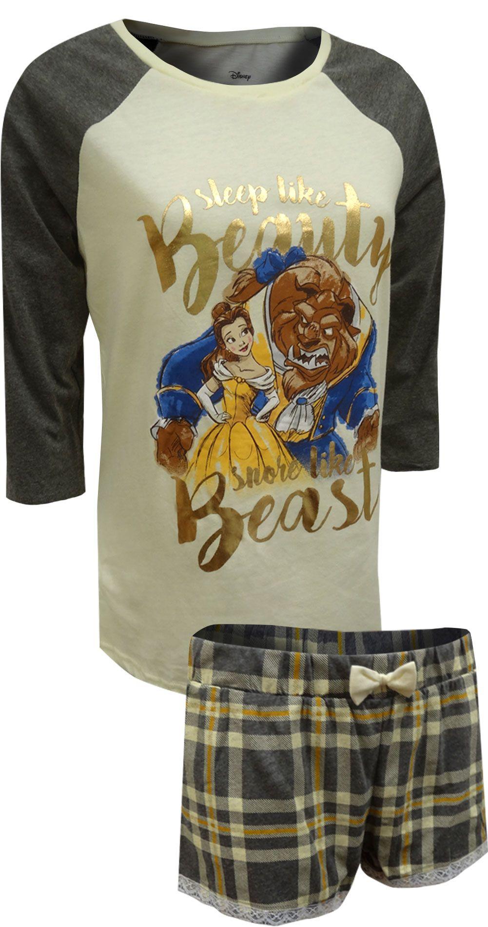 Disney beauty and the beast women/'s girl/'s short Pyjamas
