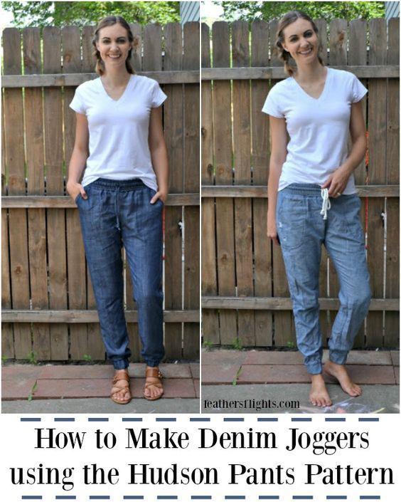 Photo of Hvordan lage denimjoggere ved å bruke Hudson Buksemønster • Heather Handmade