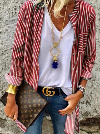Photo of Long Sleeve Striped Shirt Women's Clothing – holapick.com