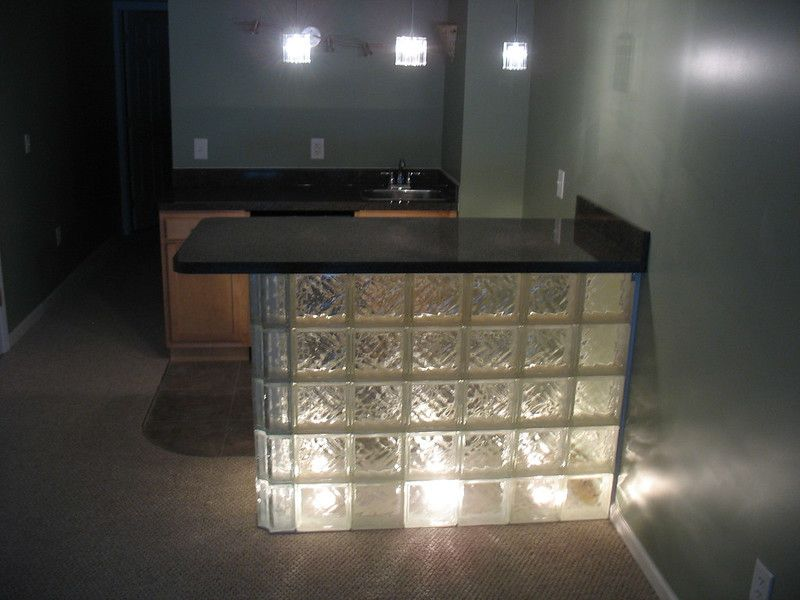 Glass Block Wet Bar with lights