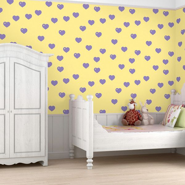 Wallpaper Decal in Hearts, Purple, Yellow from Jack and Jill Boutique