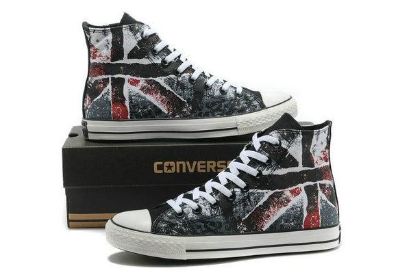 10a9b096ba92 get union jack british flag converse chuck taylor all star high scrawl  black red canvas sneakers