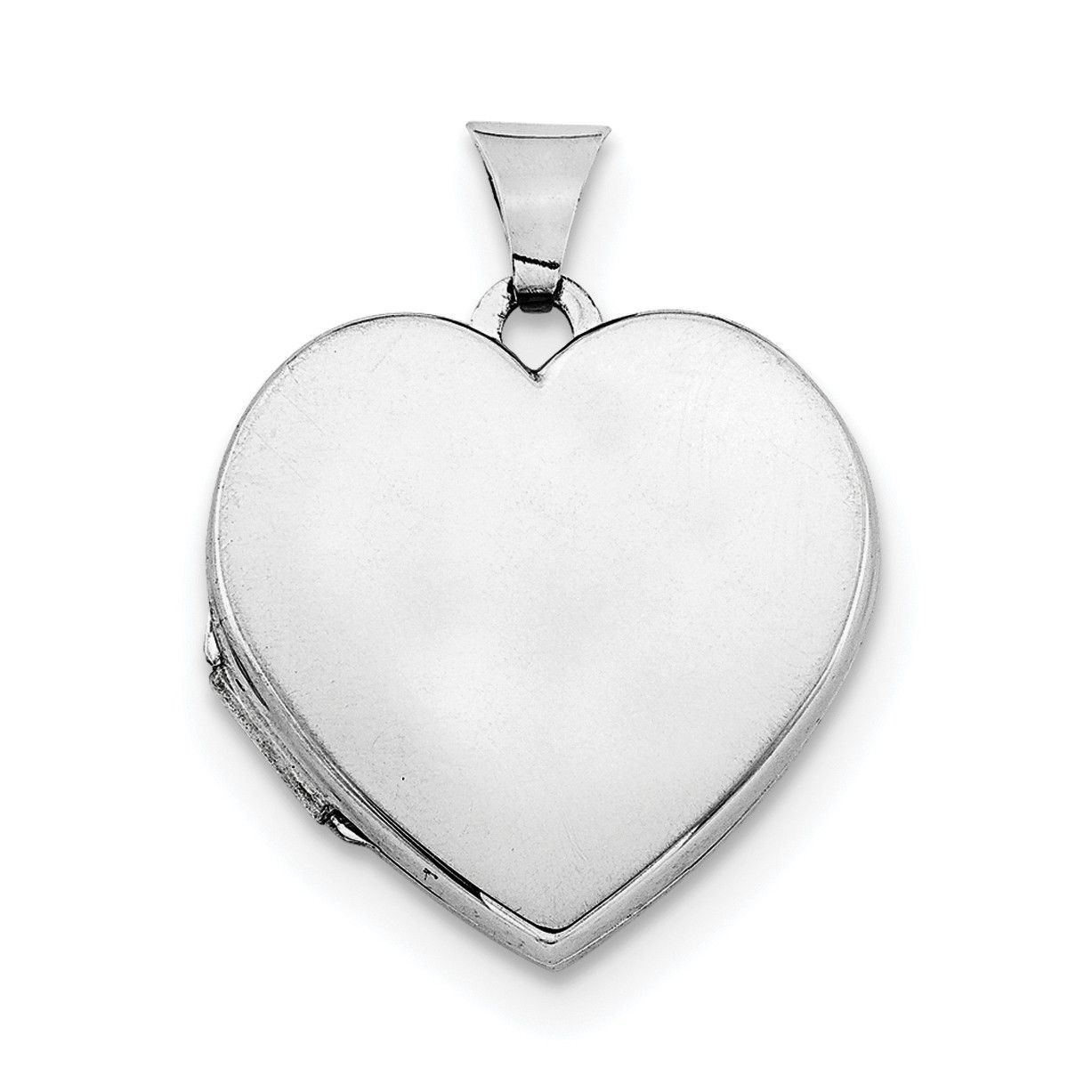 Sterling Silver Rhodium-plated Plain 21mm Heart Locket