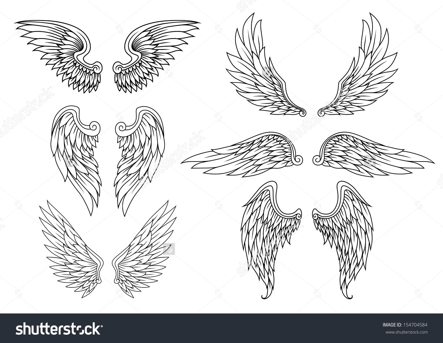 heraldic wings set for tattoo or mascot design jpeg version also available in gallery stock. Black Bedroom Furniture Sets. Home Design Ideas