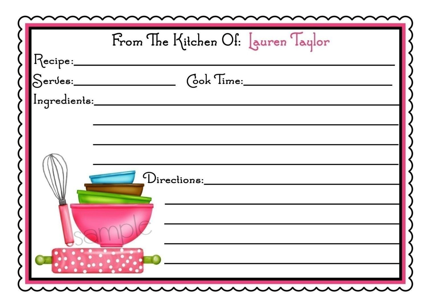Personalized Recipe Cards, Littlebeane Mixing Bowls, Kitchen ...