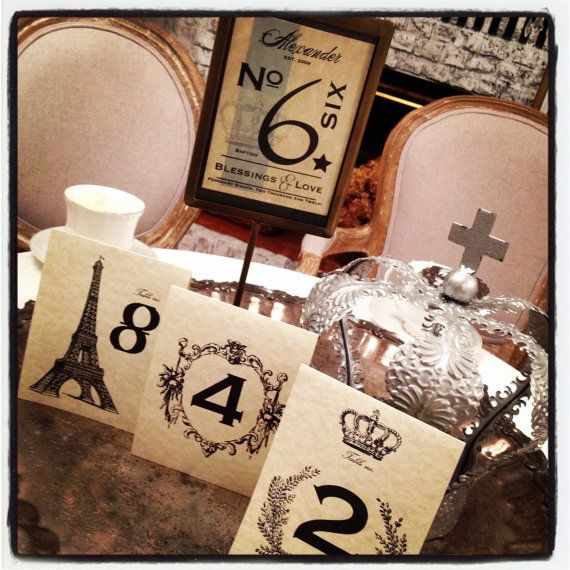 Paris Themed Wedding Reception Ideas: Table Number Eiffel Tower French Market By