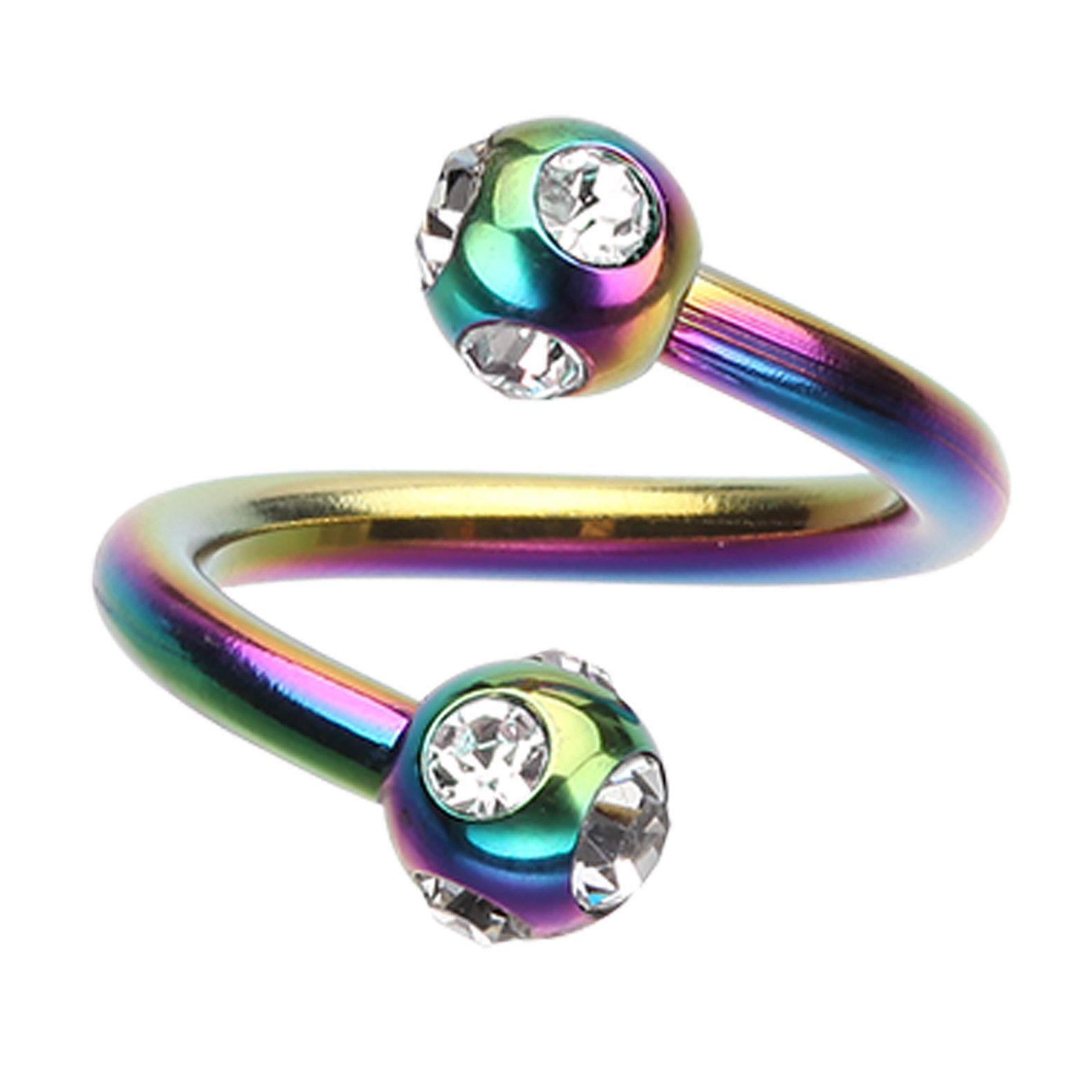 Multi Glass-Gem Horseshoe Circular Barbell 1.2mm - Sold as a Pair 4mm - Ball Size: 5//32 16 GA