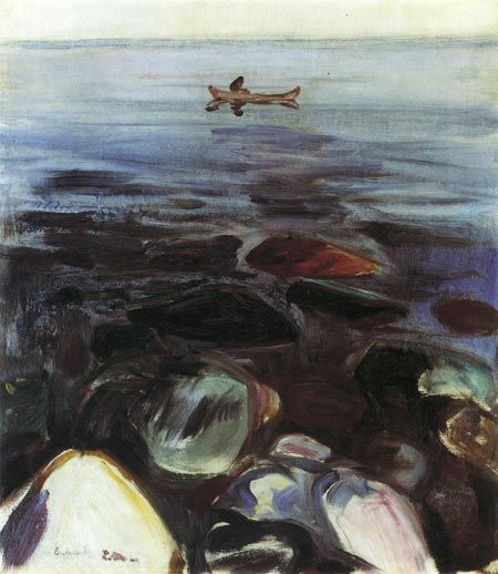 Edvard Munch  -  Rowing Boat on the Sea, 1904, oil on canvas, 5/8 x 17¼ in. (49.8 x 43.8 cm.) Private collection