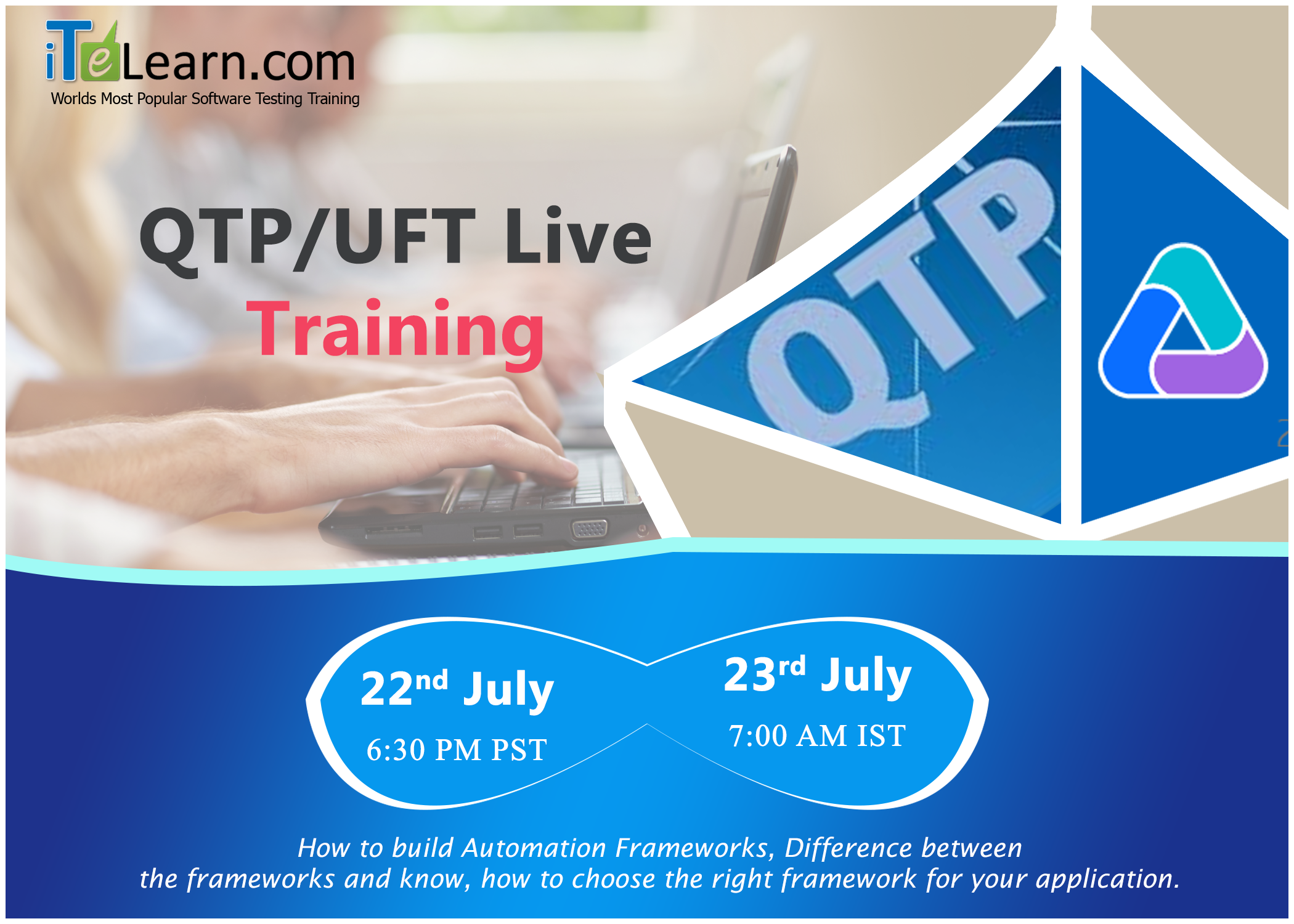 Get expose to the hottest running  #TestingTools by participating in this #LiveTraining  program on #QTP/#UFT.  --------------------------------------------------------------------------------------------------- http://www.itelearn.com/events/qtpuft-live/ These sessions will groom you to the way industry expects. Learn the basics and advanced concepts of QTP/UFT and implement them in practice. This is one of the present running  #AutomationTestingTool with ample of opportunities in your…