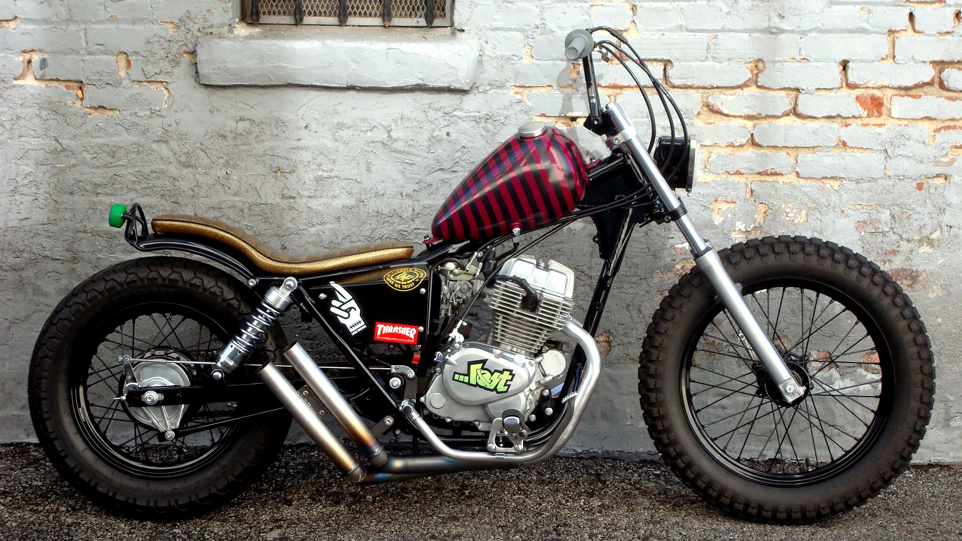 Honda Rebel Swingarm Custom With Red Black Striped Tank And Gold Flake Seat