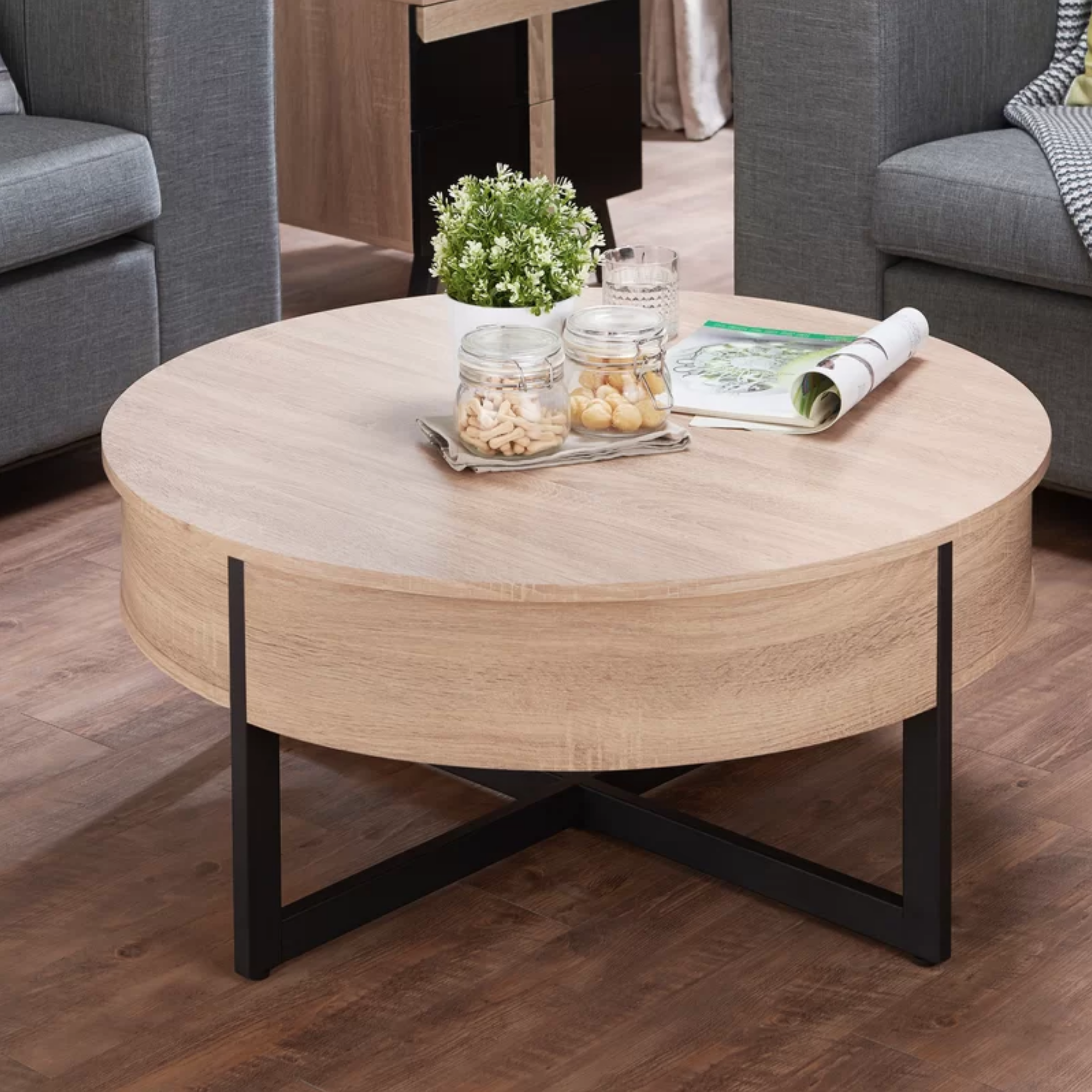 Charles Coffee Table with Storage | Round wood coffee ...