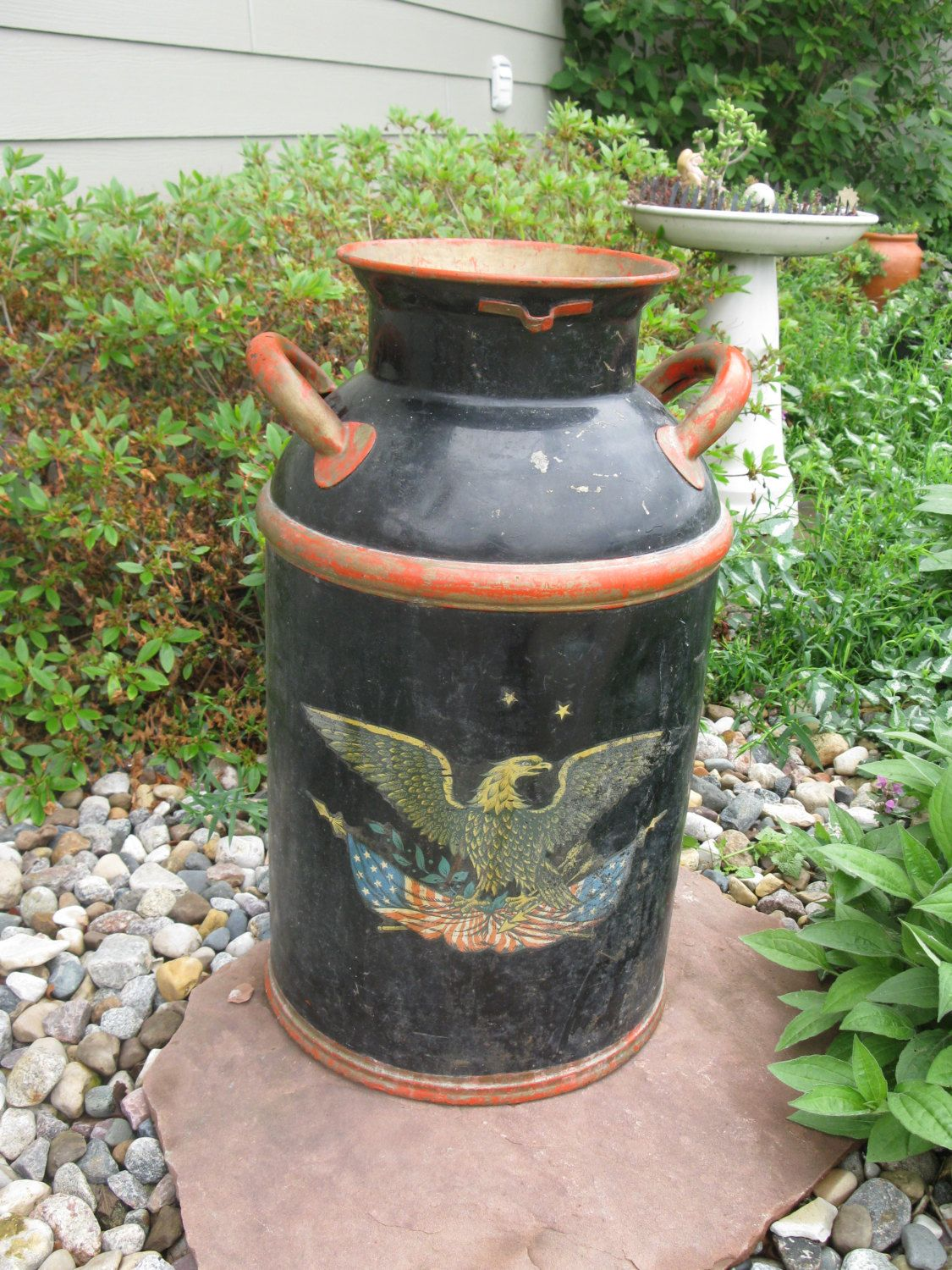 Large Metal Milk Can Bordens Cream Can Eagle Decal Painted Black Red Vintage Storage Container Garden Milk Cans Vintage Storage Container Old Milk Cans