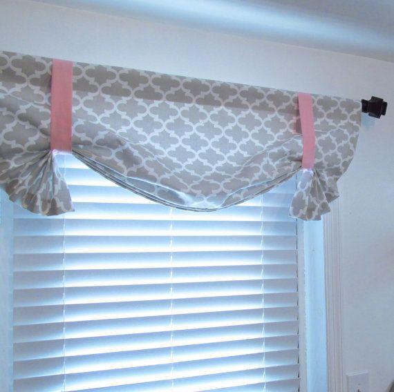 French Gray Quatrefoil Tie Up Curtain Valance By Supplierofdreams Vorhange Binden