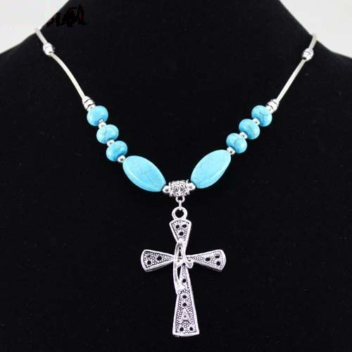 Tibetan Silver & Turquoise Cross Pendant Necklace  by KBoydsGifts, $24.99